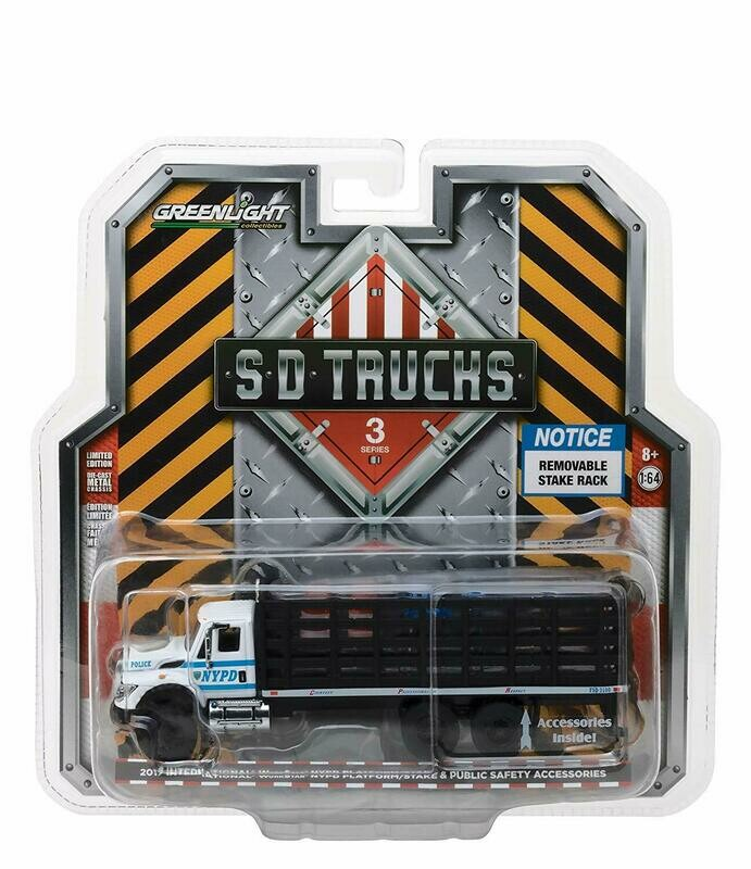 1:64 International Workstar 2017 NYPD Plataforma de Redilas C Accesorios Greenlight SD TRucks Serie 3