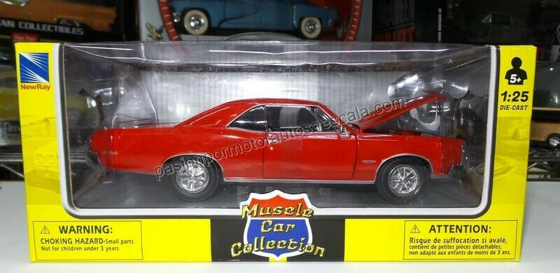 1:25 Pontiac GTO 1966 Rojo New Ray Muscle Car Collection C Caja 1:24