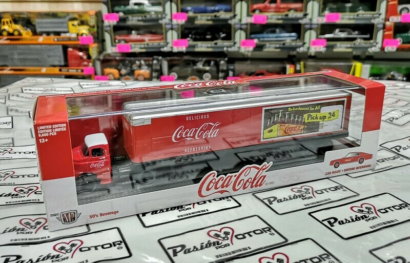 1:64 Dodge COE 1957 Con Trailer Caja Seca & Dodge Charger 383 1966 Coca Cola de M2 Machines