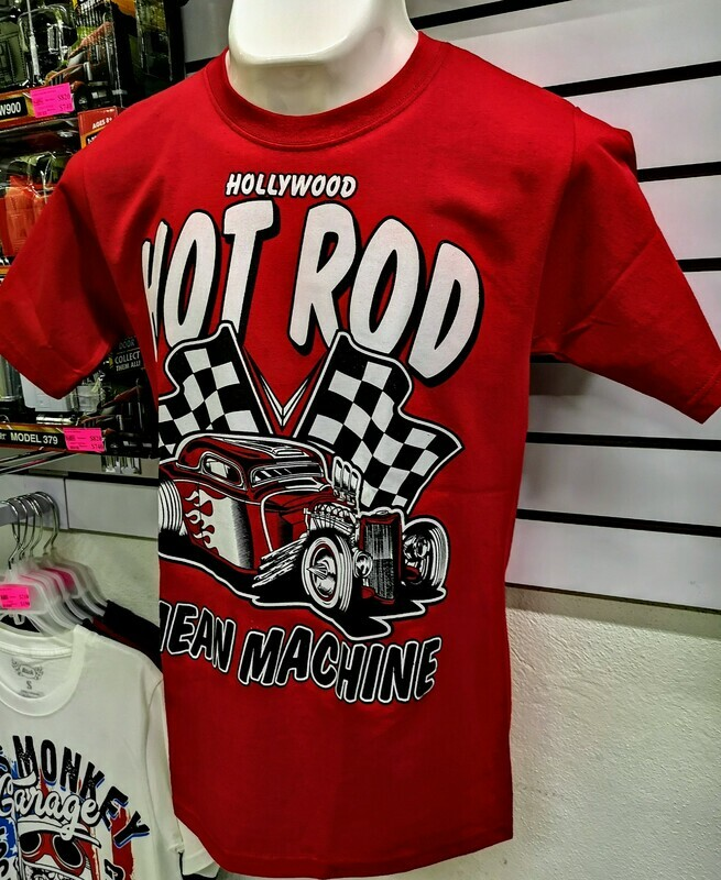 Playera Impresa Roja Hot Rod Mean Machine Talla Chica