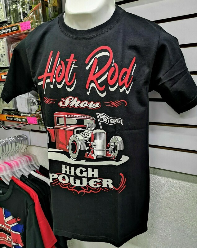 Playera Impresa Negra Hot Rod High Power Talla Chica