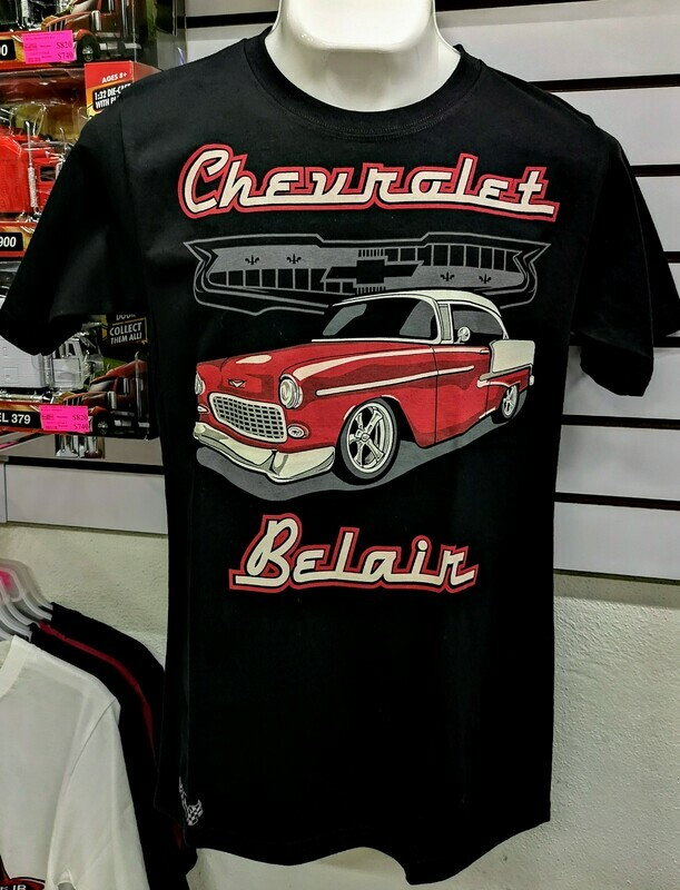 Playera Impresa Negra Chevrolet Bel Air 1955 Talla Chica