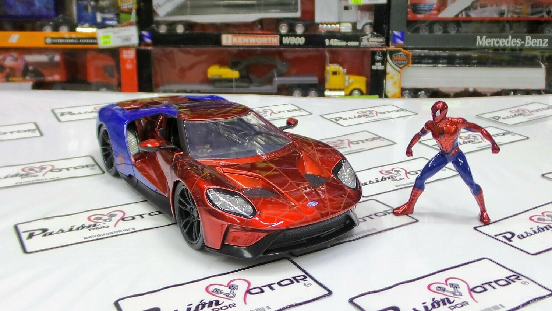 1:24 Ford GT 2017 Con Figura Spider Man Jada Toys Metals Marvel En Caja