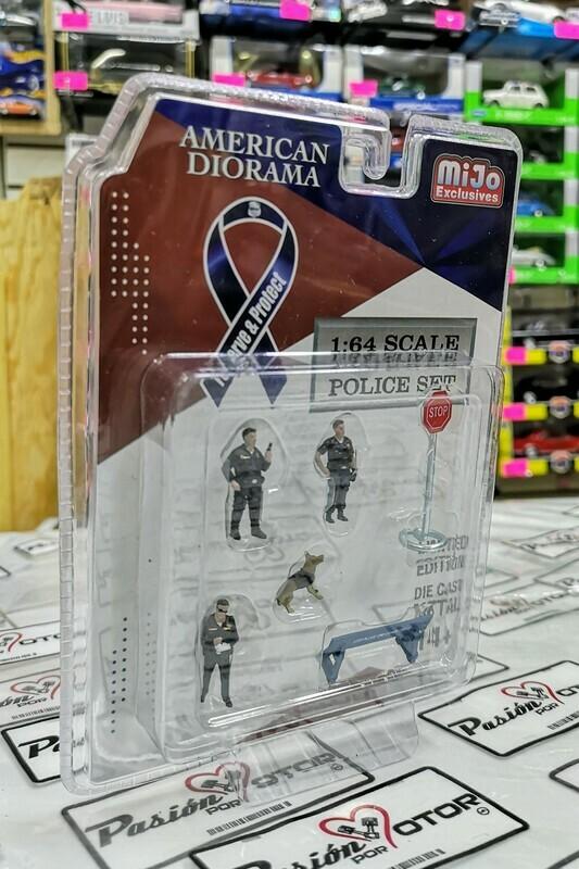 1:64 Set Policia Azul Police American Diorama Mijo Figures