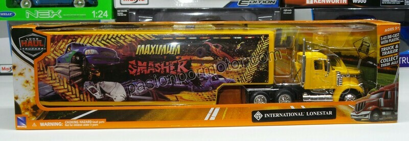 1:43 International Lonestar Day Cab C Caja Seca Panzona Amarillo Monster Truck Trailer New Ray