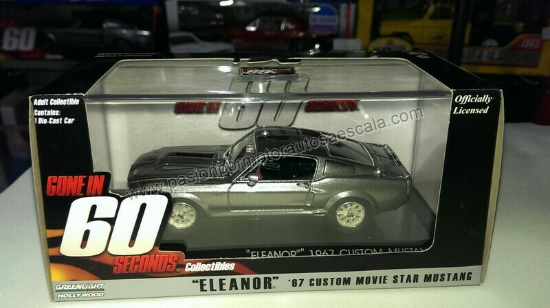 1:43 Ford Mustang Custom 1967 Eleanor 60 segundos Gone In 60 Seconds Greenlight Shelby GT500