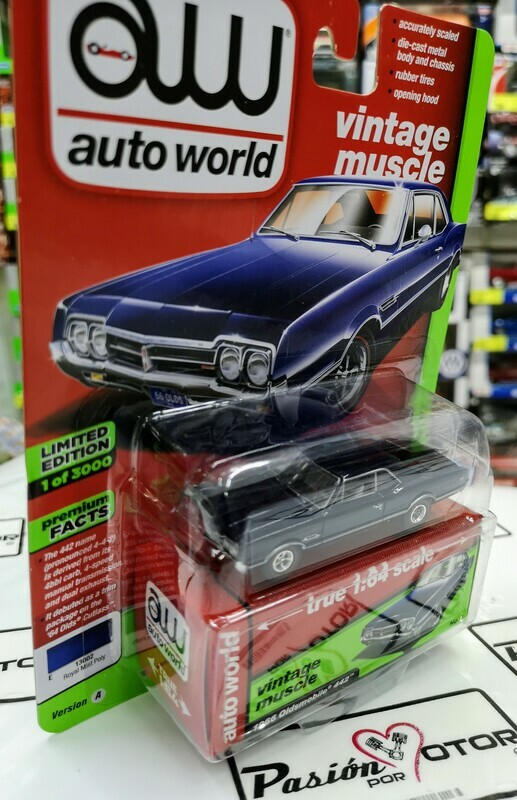 1:64 Oldsmobile 442 1966 Azul Auto World Premium Serie 3