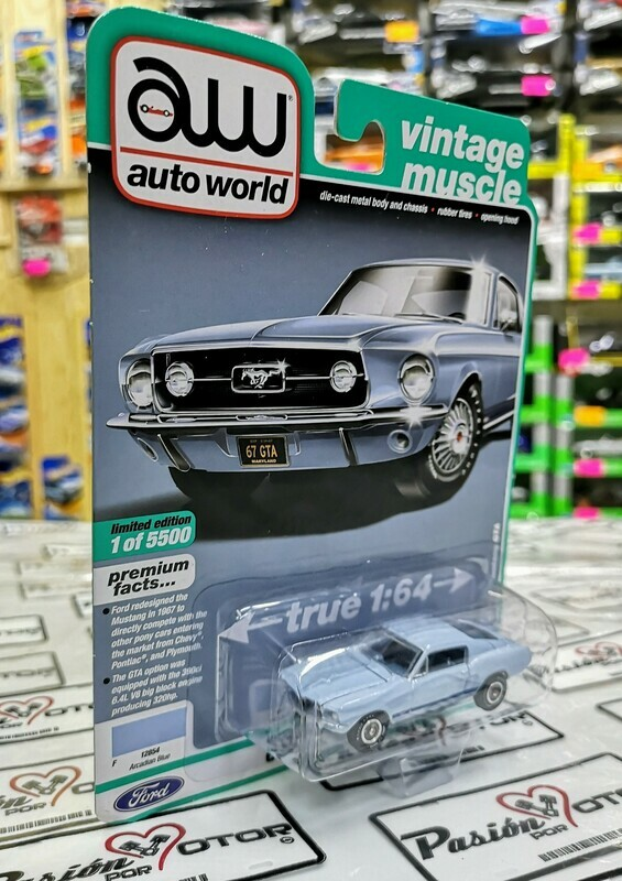 1:64 Ford Mustang Fastback GTA 1967 Azul Auto World Premium Serie 4
