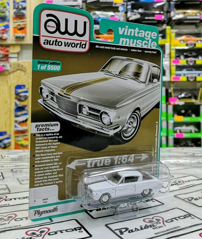 1:64 Plymouth Barracuda Formula S 1965 Blanco Auto World Premium Serie 4