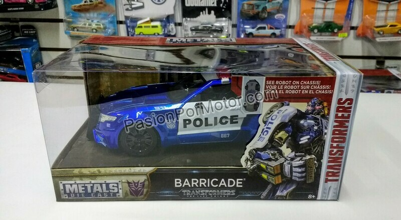 1:24 Barricade Police Patrulla Transformers The Last Knight Jada Toys Hollywood Rides C Caja