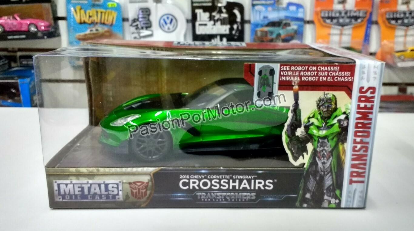 1:24 Chevrolet Corvette Stingray 2016 Crosshairs Transformers The Last Knight Jada Toys Hollywood Rides C Caja
