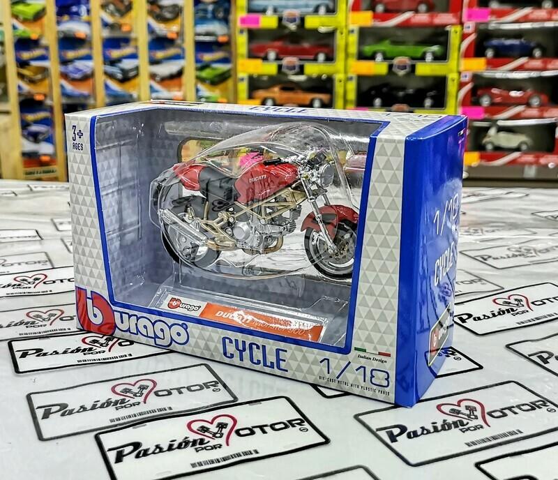 1:18 Moto Ducati Monster 900 Roja Bburago Motocicleta