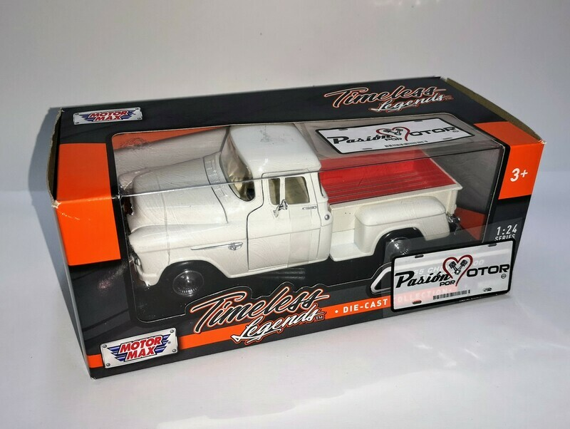 1:24 Chevrolet 5100 Stepside 1955 Pick Up Blanco Motor Max Timeless Legends C Caja