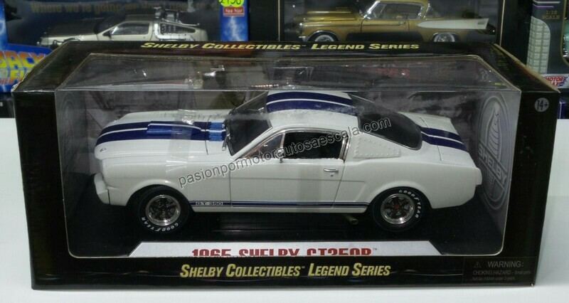 1:18 Shelby GT350 R 1965 Blanco Franjas Azules Shelby Collectibles Cars Ford Mustang Hard Top