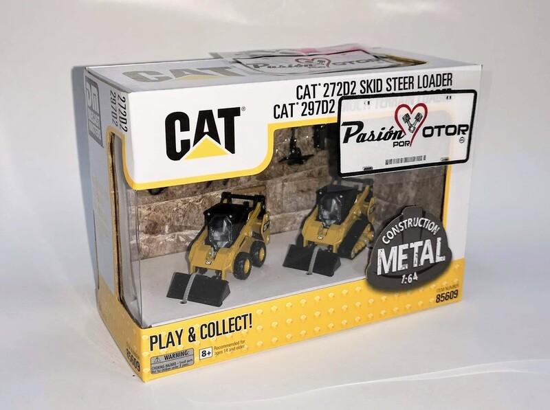 1:64 Caterpillar 272D2 Skid Street Loader + 297D2 Multi Terrain Loader Mini Cargador DieCast Masters