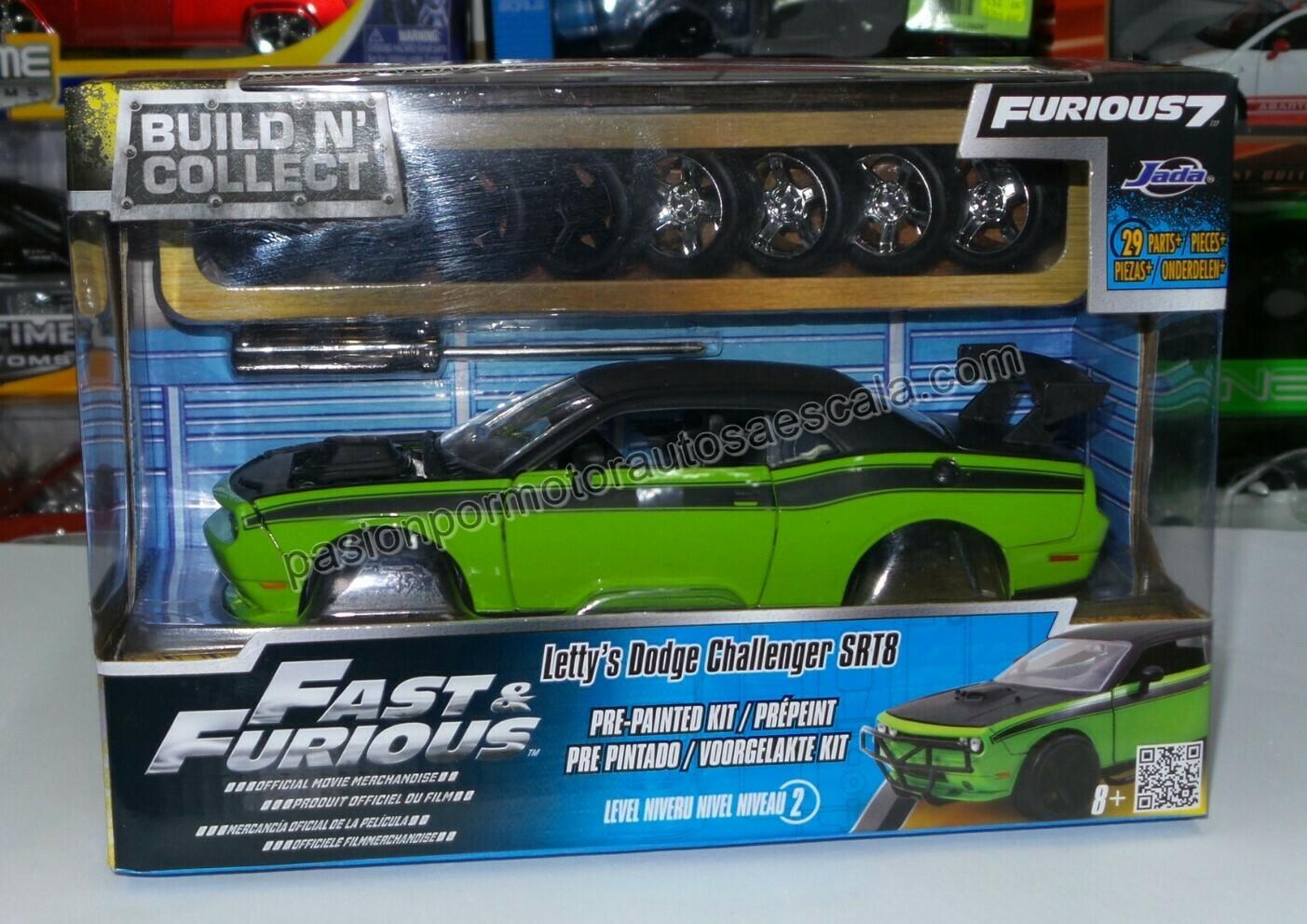 1:24 Dodge Challenger SRT8 2011 Letty's Rapido Y Furioso 7 Jada Toys Build N' Collect Para Armar En Caja