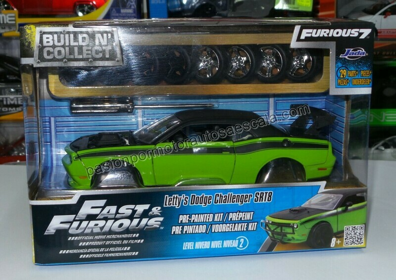 1:24 Dodge Challenger SRT8 2011 Letty's Rapido Y Furioso 7 Jada Toys Build N' Collect Para Armar En Caja