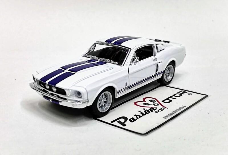 1:38 Ford Shelby GT-500 1967 Blanco C Franjas Azules Kinsmart En Display / a Granel 1:32