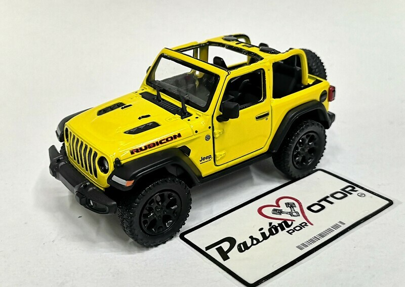 1:34 Jeep Wrangler Rubicon Open Top 2018 Amarillo  Kinsmart En Display / A Granel 1:32