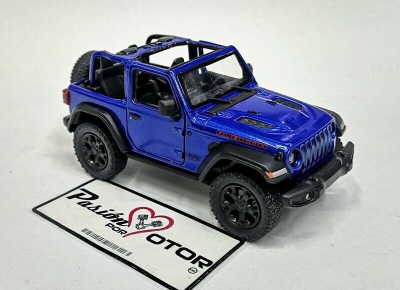 1:34 Jeep Wrangler Rubicon Open Top 2018 Azul  Kinsmart En Display / A Granel 1:32
