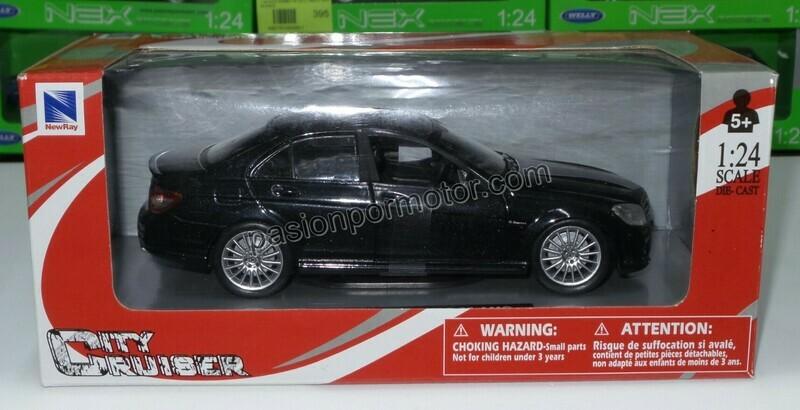 1:24 Mercedes Benz C63 2008 Negro New Ray C Caja