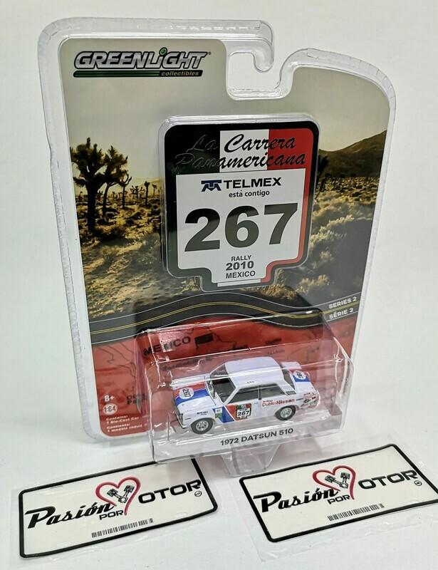 1:64 Datsun 510 1972 Rally 2010 Mexico Greenlight La Carrera Panamericana Serie 2