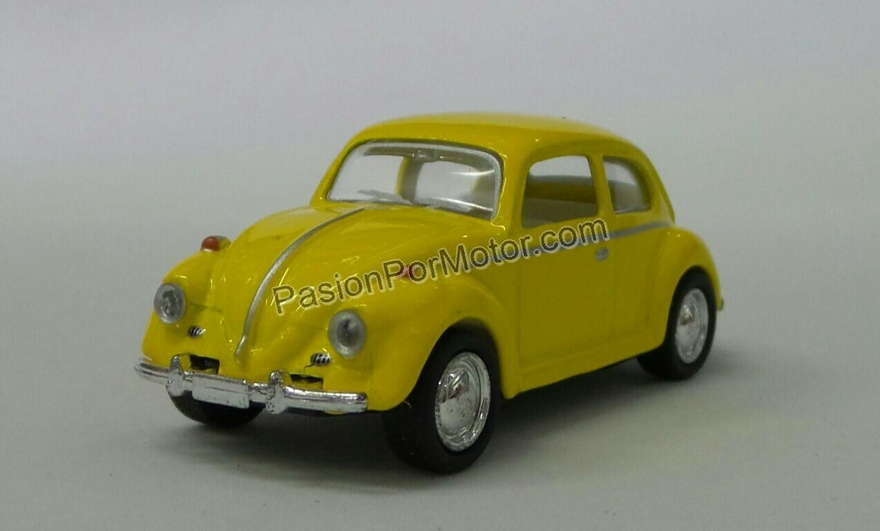 1:64 Volkswagen Beetle 1967 Amarillo Kinsmart En Display / a Granel