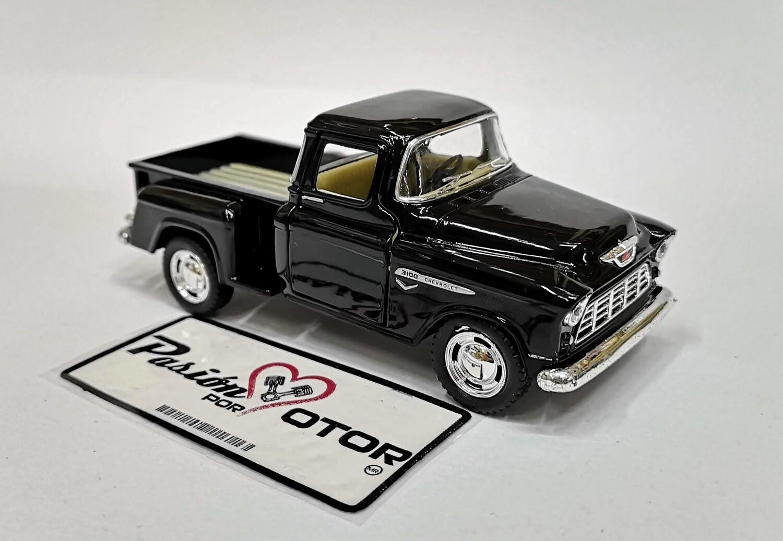 1:38 Chevrolet 3100 Stepside Pick Up 1955 Negro  Kinsmart En Display / A Granel Chevy 1:32
