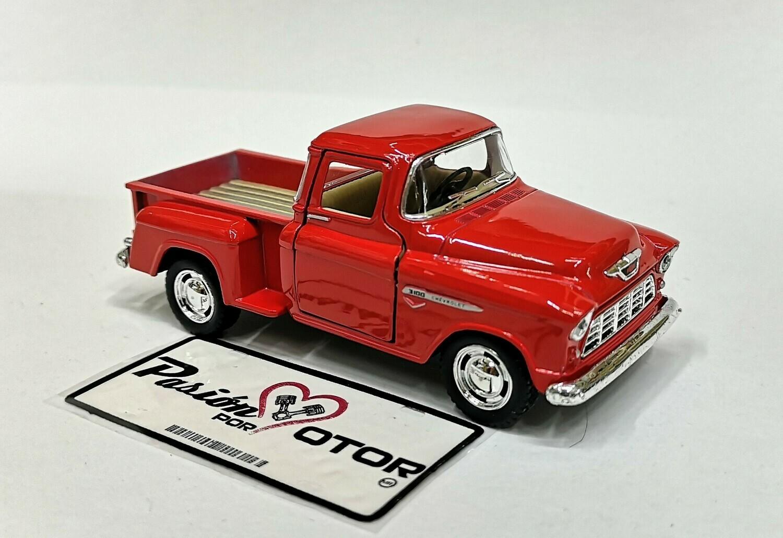 1:38 Chevrolet 3100 Stepside Pick Up 1955 Rojo  Kinsmart En Display / A Granel Chevy 1:32