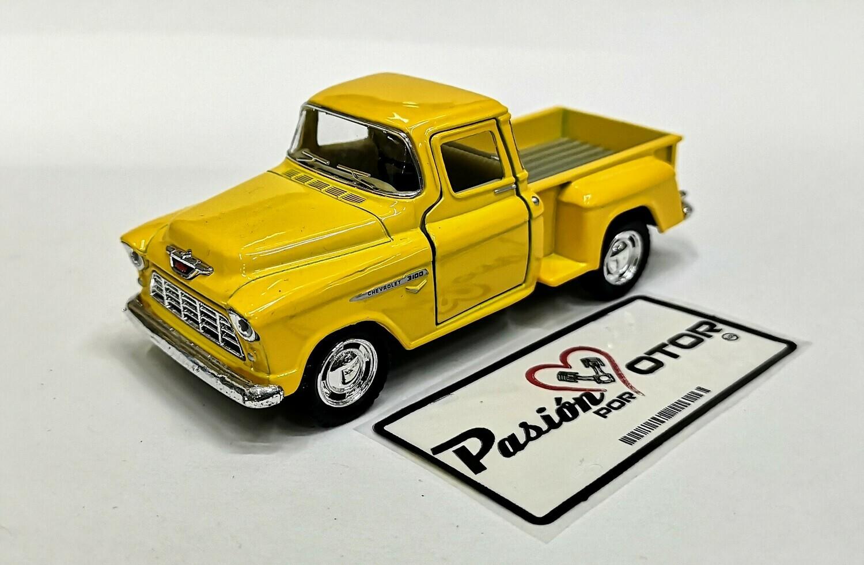 1:38 Chevrolet 3100 Stepside Pick Up 1955 Amarillo  Kinsmart En Display / A Granel Chevy 1:32