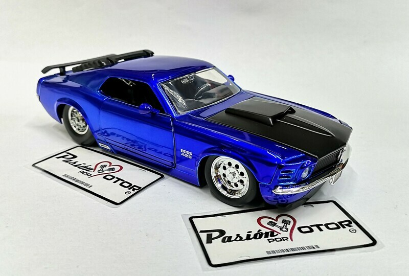 1:24 Ford Mustang Boss 429 1970 Azul Candy Jada Toys Big Time Muscle En Display / A Granel Shelby