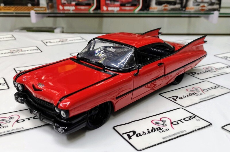 1:24 Cadillac Coupe Deville 1959 Rojo Jada Toys Big Time Kustoms En Display / A Granel