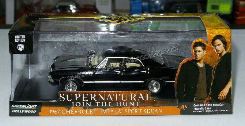 1:43 Chevrolet Impala Sport Sedan 1967 Negro Supernatural Greenlight Hollywood
