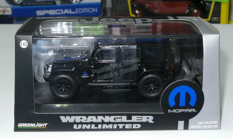 1:43 Jeep Wrangler Unlimited Techo Duro 2015 Negro Mopar Greenlight