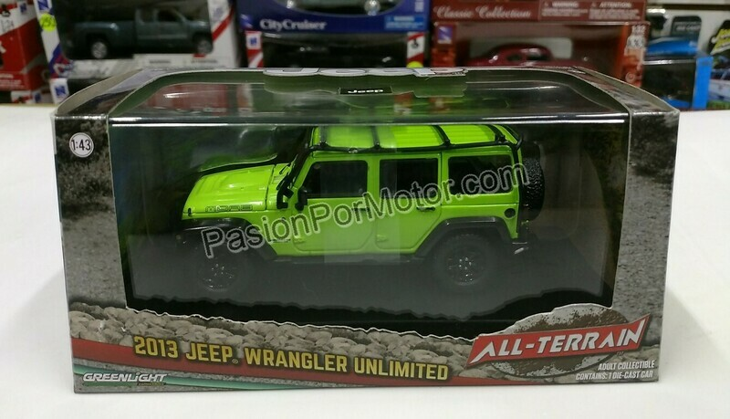 1:43 Jeep Wrangler Unlimited Techo Duro 2013 Verde Greenlight All Terrain