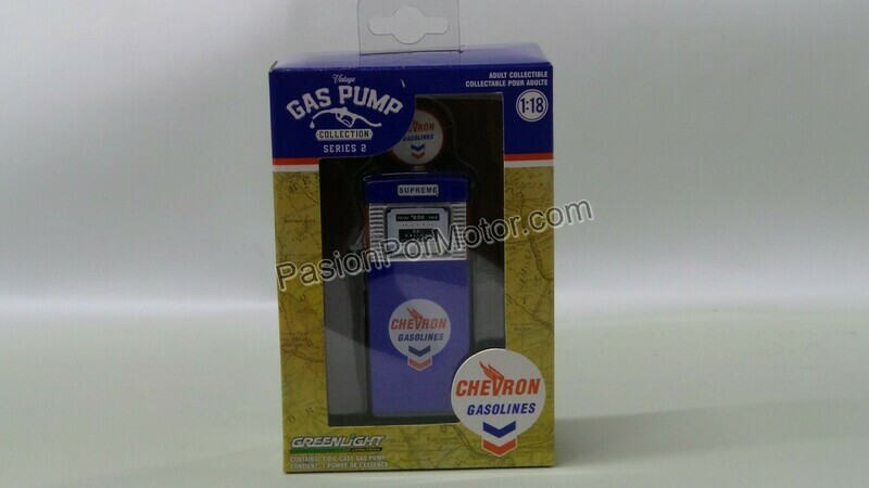 1:18 Bomba de Gasolina Vintage Chevron Gasolines Greenlight Gas Pump Serie 2