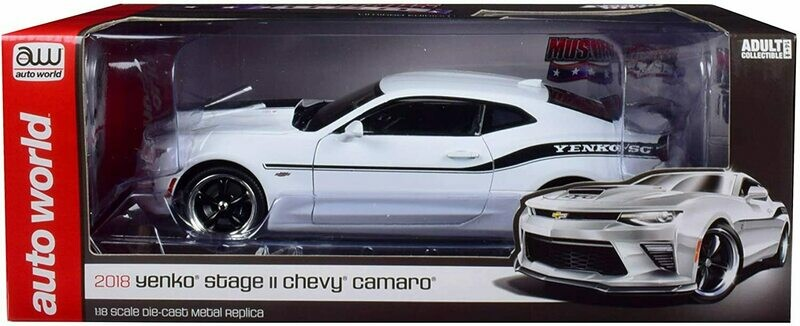 1:18 Chevrolet Camaro Yenko Stage II 2018 Blanco Franjas Negras Auto World