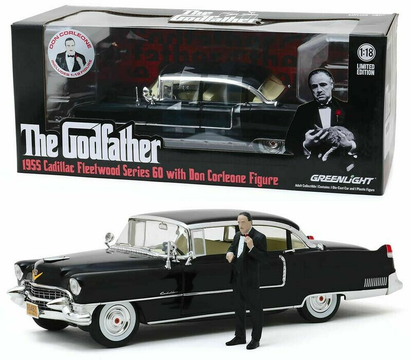 1:18 Cadillac Fleetwood Series 60 1955 Con Figura de El Padrino The God Father Greenlight - Hollywood