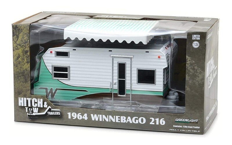 1:24 Winnebago 216 1964 Verde Menta Remolque Caravana Trailer Greenlight Hitch & Tow