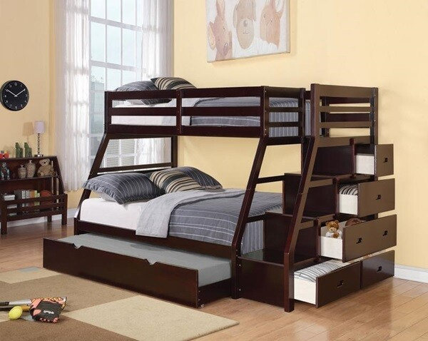 TWIN/FULL/TWIN BUNK BED WITH MATTRESS