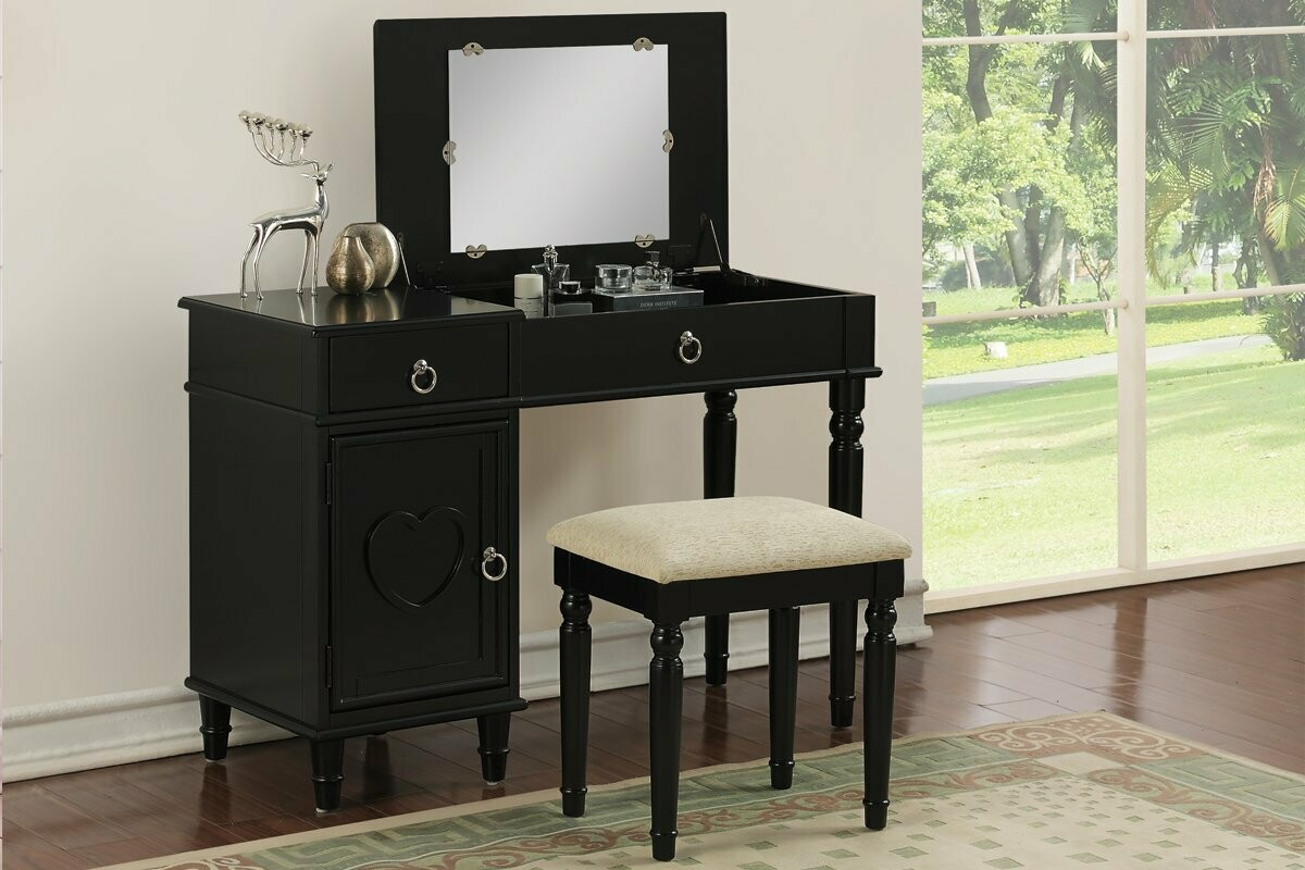 VANITY WITH STOOL IN BLACK