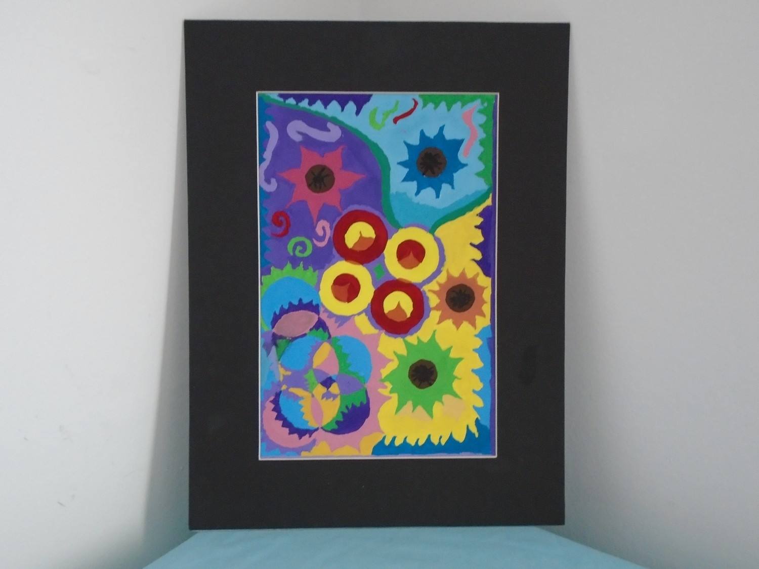 Flower Power Original Gouache Painting On Art Paper With Black Cardboard Frame 12x16 In