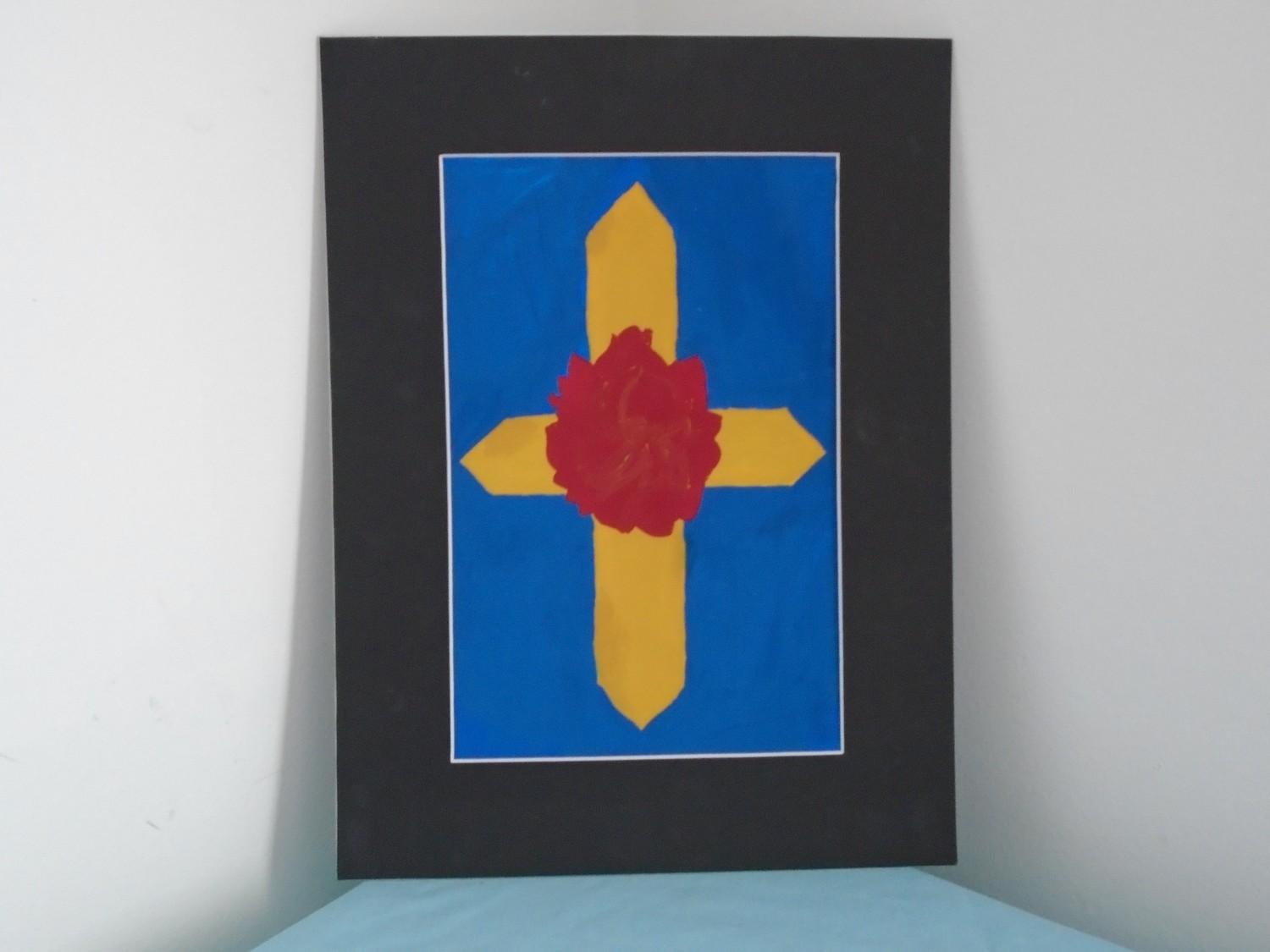 Rose Cross Original Gouache Painting On Art Paper With Black Cardboard Frame 12x16 In