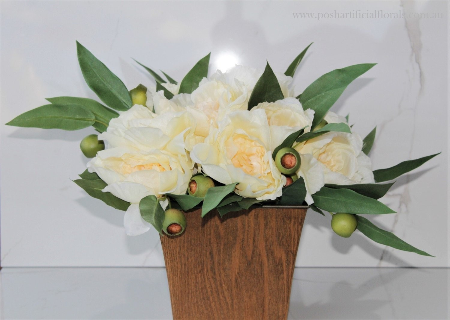 Ivory Peony Roses with Gum Nuts Table Centre
