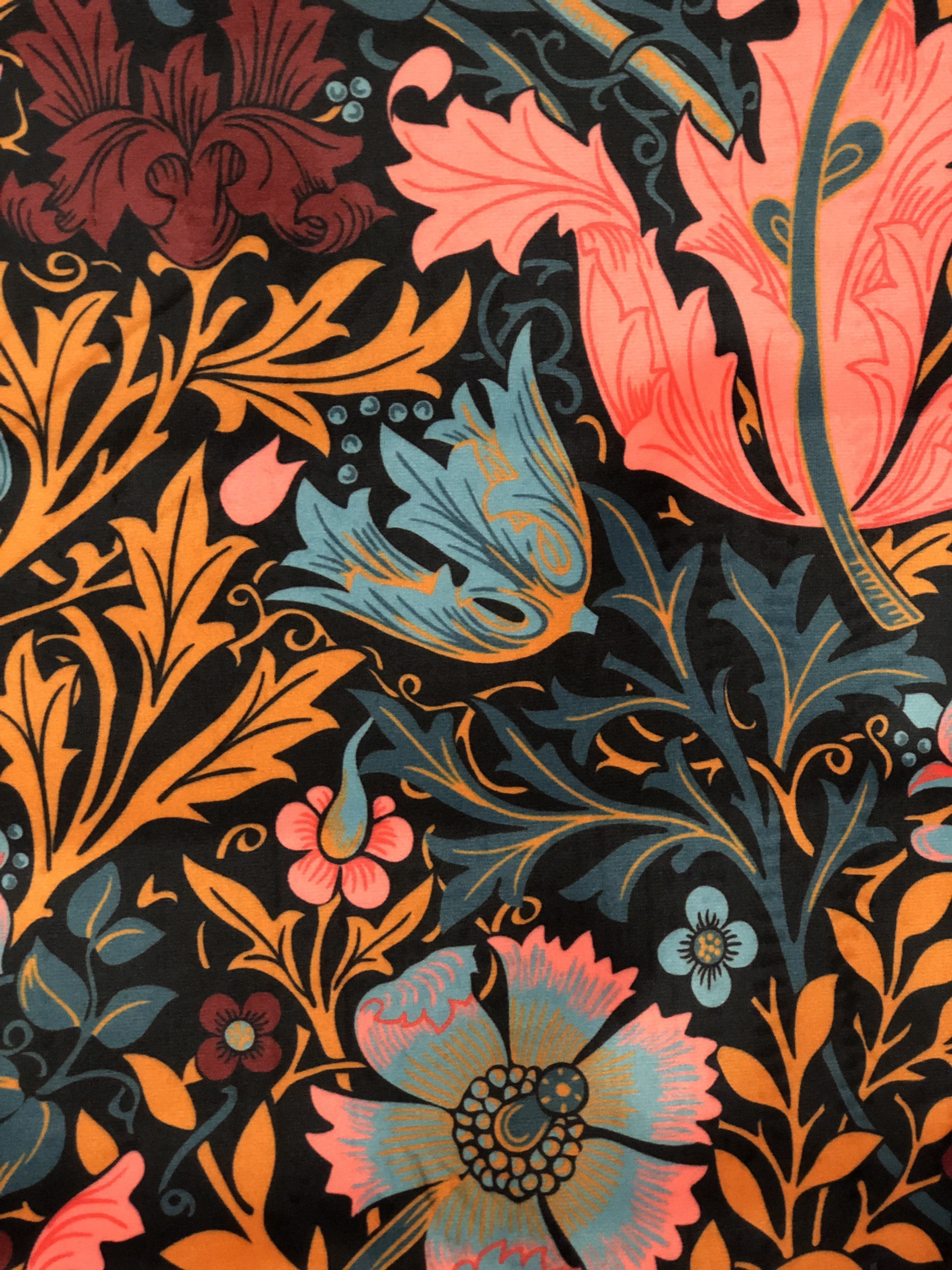Upholstery Floral Velvet Crush Fabric 00023