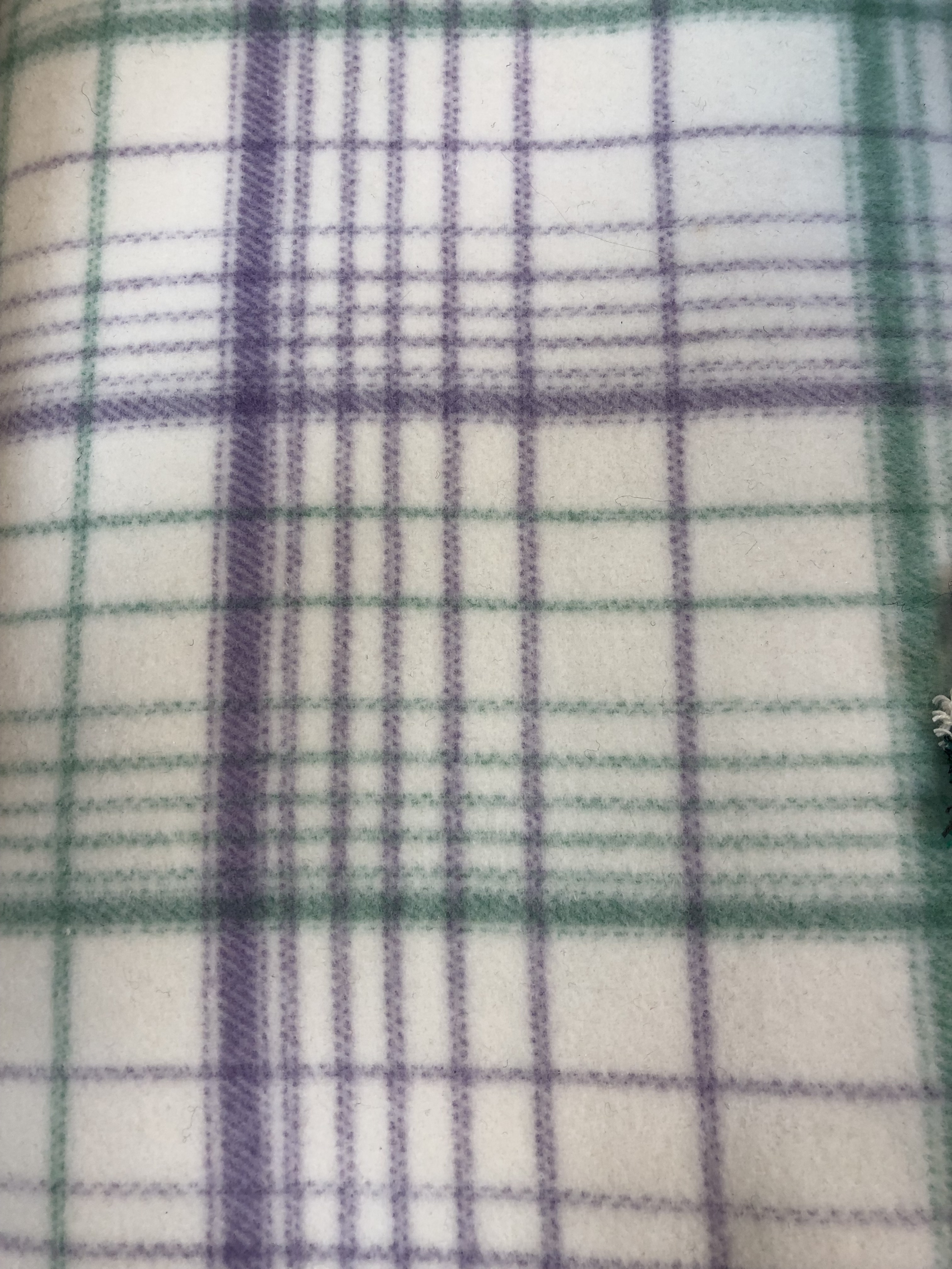 Purple and White 100% Wool Fabric