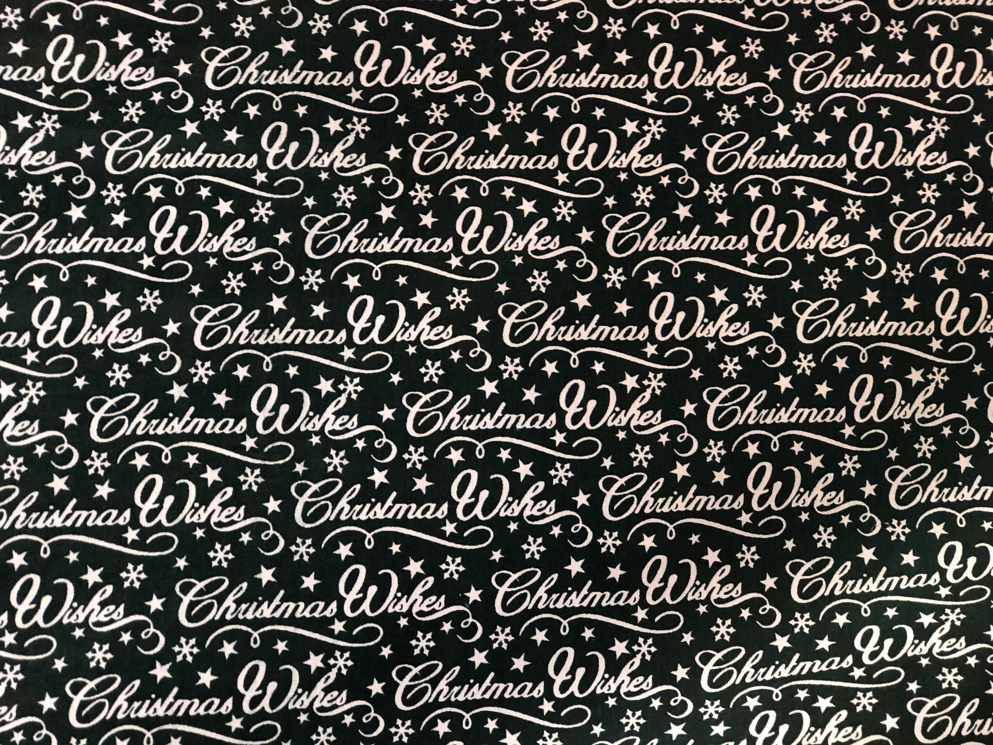 Black Christmas Wishes Fabrics 00053