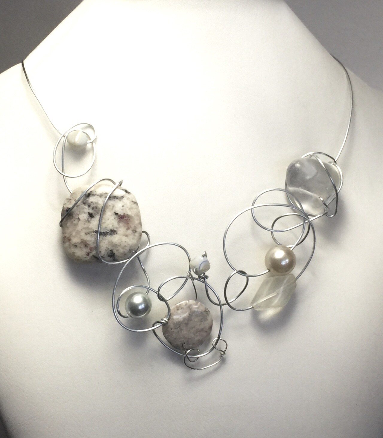 COLLIER DE PIERRES MIX ARGENT