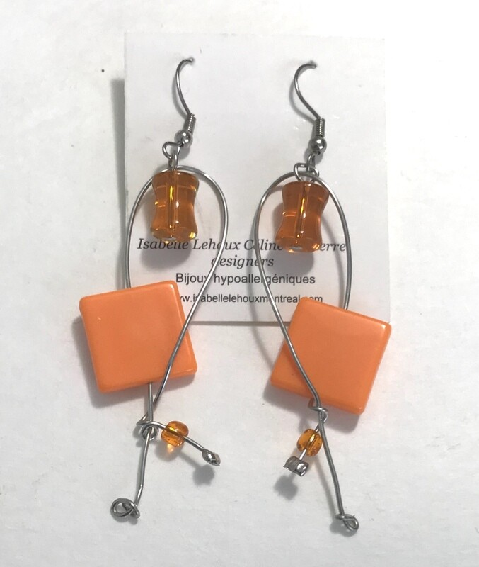 BOUCLES D'OREILLES ORANGE EN FOLIE