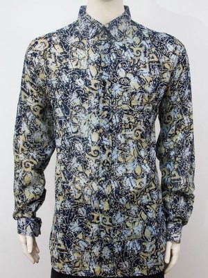 Karyaneka Casual Long Sleeve Abstract Design Batik Shirt (Greyish-Multicolor) 0650104006025C